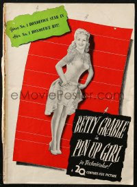 4k0061 PIN UP GIRL pressbook 1944 sexy full-length Betty Grable in skimpy outfit showing her legs!