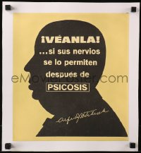 4k0040 PSYCHO linen 12x13 Spanish special poster 1960 great silhouette of Alfred Hitchcock, rare!