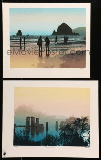 4k0031 SET OF 2 GRELL ART PRINTS signed group of 2 limited edition art prints 2000s by Grell, Beachwalk, Landing