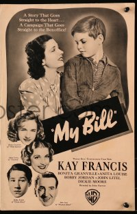 4k0059 MY BILL pressbook 1938 poor beautiful Kay Francis, widowed with four children, very rare!