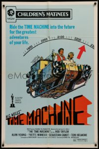 4m1284 TIME MACHINE 1sh R1972 H.G. Wells, George Pal, great completely different sci-fi artwork!