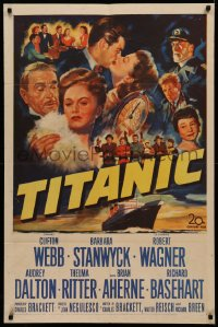 4m1285 TITANIC 1sh 1953 great artwork of Clifton Webb, Barbara Stanwyck & legendary ship!