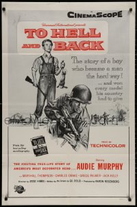 4m1287 TO HELL & BACK military 1sh 1955 Audie Murphy's life story as a kid soldier in World War II!