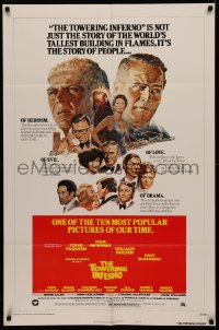 4m1301 TOWERING INFERNO style B 1sh R1976 Steve McQueen, Paul Newman, different Jung art!
