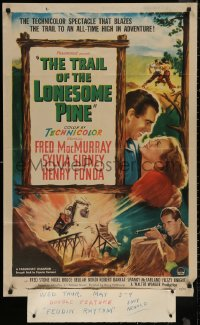 4m1302 TRAIL OF THE LONESOME PINE 1sh R1949 art of Sylvia Sidney, Henry Fonda, Fred MacMurray!
