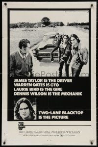 4m1307 TWO-LANE BLACKTOP 1sh 1971 James Taylor is the driver, Warren Oates is GTO, Laurie Bird