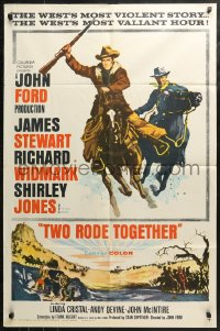 4m1306 TWO RODE TOGETHER 1sh 1961 John Ford, art of James Stewart & Richard Widmark on horses!