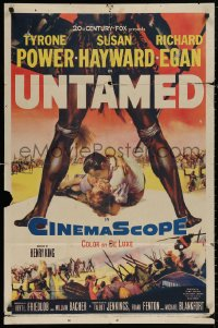 4m1310 UNTAMED 1sh 1955 cool art of Tyrone Power & Susan Hayward in Africa with natives!