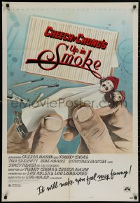 4m1312 UP IN SMOKE style B 1sh 1978 Cheech & Chong, it will make you feel funny, revised tagline!