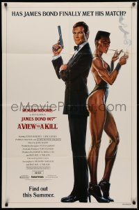 4m1317 VIEW TO A KILL advance 1sh 1985 art of Roger Moore & Jones by Goozee over white background!