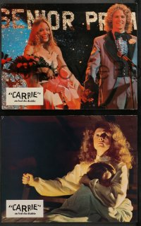 4m0069 CARRIE 7 French LCs 1977 Stephen King, Sissy Spacek & crazy mother Piper Laurie, Katt!