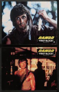 4m0057 FIRST BLOOD 8 style A French LCs 1983 different images of Sylvester Stallone as John Rambo!