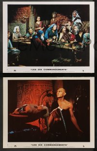 4m0058 TEN COMMANDMENTS 8 style A French LCs R1970s Cecil B. DeMille, Charlton Heston & Yul Brynner!
