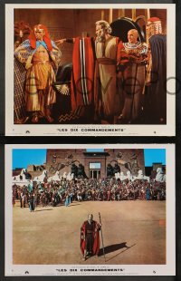4m0071 TEN COMMANDMENTS 6 style B French LCs R1970s Cecil B. DeMille, Charlton Heston & Yul Brynner!