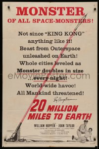 4p0035 20 MILLION MILES TO EARTH signed 1sh 1957 by Ray Harryhausen, monster of all space-monsters!