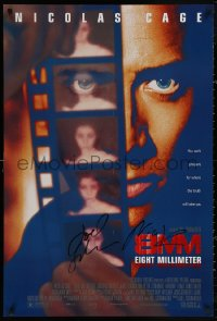 4p0003 8MM signed DS 1sh 1999 by BOTH Joel Schumacher AND Nicolas Cage, cool film strip image!
