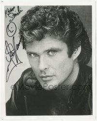 4p0561 DAVID HASSELHOFF signed 8x10 REPRO still 1990s head & shoulders portrait with leather jacket!
