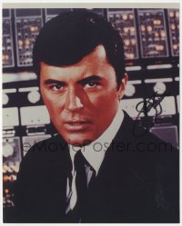 4p0522 JAMES DARREN signed color 8x10 REPRO still 1990s young head & shoulders portrait in suit & tie