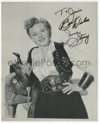 4p0589 JUNE STOREY signed 8x9.75 REPRO still 1980s great close portrait wearing cowgirl costume!