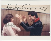 4p0526 KAREN LYNN GORNEY signed color 8x10 REPRO still 1980s w/John Travolta in Saturday Night Fever!