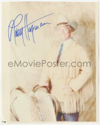 4p0529 LARRY HAGMAN signed color 7.75x9.75 REPRO still 1990s smiling as J.R. Ewing from TV's Dallas!