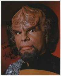 4p0534 MICHAEL DORN signed color 8x10 REPRO still 1991 as Lt. Worf in Star Trek: The Next Generation