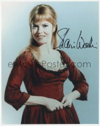 4p0538 SHANI WALLIS signed color 8x10 REPRO still 1980s smiling c/u in costume as Nancy from Oliver!