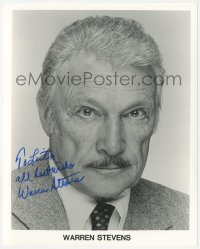 4p0504 WARREN STEVENS signed 8x10 publicity still 1990s head & shoulders portrait late in his career!