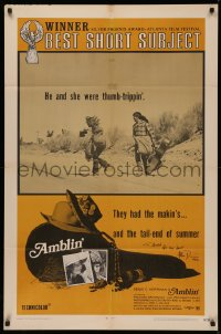 4p0037 AMBLIN' signed 1sh R1971 by cinematographer Allen Daviau, Steven Spielberg's first movie!