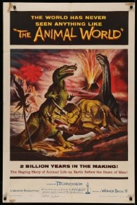 4p0039 ANIMAL WORLD signed 1sh 1956 by FX master Ray Harryhausen, great art of dinosaurs & volcano!