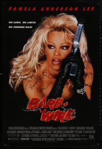 4p0004 BARB-WIRE signed 1sh 1996 by Pamela Anderson, as the sexy comic book hero with a big gun!