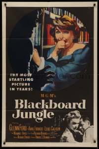 4p0045 BLACKBOARD JUNGLE signed 1sh 1955 by director Richard Brooks AND author Evan Hunter!