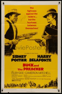 4p0047 BUCK & THE PREACHER signed 1sh 1972 by Sidney Poitier, great image with Harry Belafonte!
