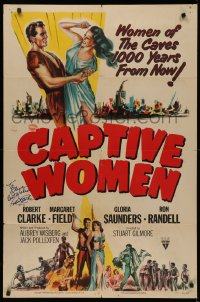 4p0048 CAPTIVE WOMEN signed 1sh 1952 by Robert Clarke, sexy sci-fi 1,000 years after the atom bomb!