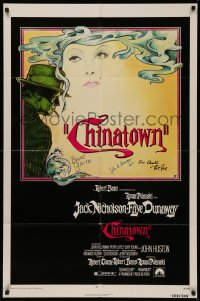 4p0050 CHINATOWN signed 1sh 1974 by Bruce Glover, cinematographer John A. Alonzo & one other!