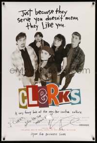 4p0005 CLERKS signed advance 1sh 1994 by Kevin Smith, a very funny look at over-the-counter culture!