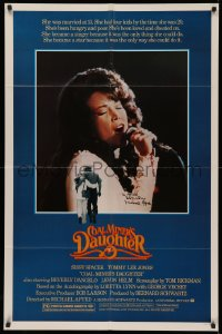 4p0054 COAL MINER'S DAUGHTER signed 1sh 1980 by Michael Apted, Sissy Spacek as singer Loretta Lynn!