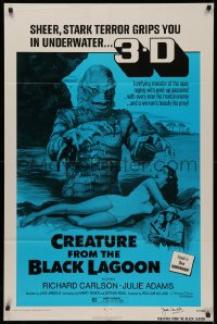 4p0057 CREATURE FROM THE BLACK LAGOON signed 1sh R1972 by director Jack Arnold, great monster image!