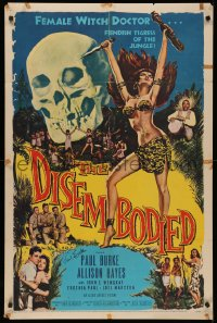 4p0062 DISEMBODIED signed 1sh 1957 by Paul Burke, art of sexy voodoo witch doctor Allison Hayes!