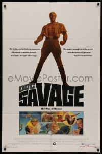 4p0063 DOC SAVAGE signed 1sh 1975 by writer George Pal, great art of Ron Rly, The Man of Bronze!