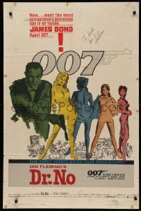 4p0064 DR. NO signed 1sh 1963 by production designer Ken Adam, art of Sean Connery as James Bond!
