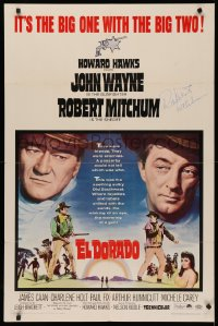4p0065 EL DORADO signed 1sh 1967 by Robert Mitchum, great image with big John Wayne, Howard Hawks!