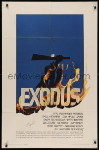 4p0067 EXODUS signed 1sh 1961 by souce novel author Leon Uris, great Saul Bass art, Otto Preminger!