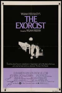 4p0068 EXORCIST signed 1sh 1974 by director William Friedkin, William Peter Blatty horror classic!
