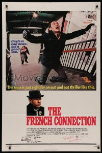 4p0070 FRENCH CONNECTION signed 1sh 1971 by BOTH director William Friedkin AND Tony Lo Bianco!