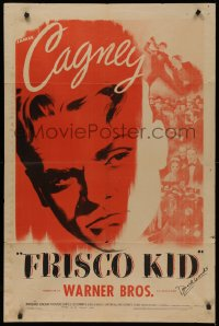 4p0071 FRISCO KID signed 1sh R1944 by Donald Woods, great huge image of tough James Cagney!