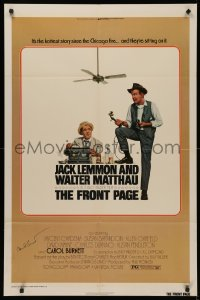 4p0072 FRONT PAGE signed 1sh 1975 by Carol Burnett, Lettick art of Lemmon & Matthau, Billy Wilder!