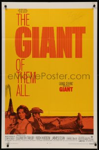4p0075 GIANT signed 1sh R1970 by director George Stevens, great image of Liz, James Dean & Hudson!