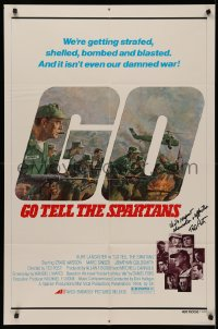 4p0076 GO TELL THE SPARTANS signed 1sh 1978 by director Ted Post, Kunstler art of Burt Lancaster!