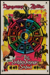 4p0078 GOLDEN VOYAGE OF SINBAD signed teaser 1sh 1974 by Ray Harryhausen, cool different zodiac art!